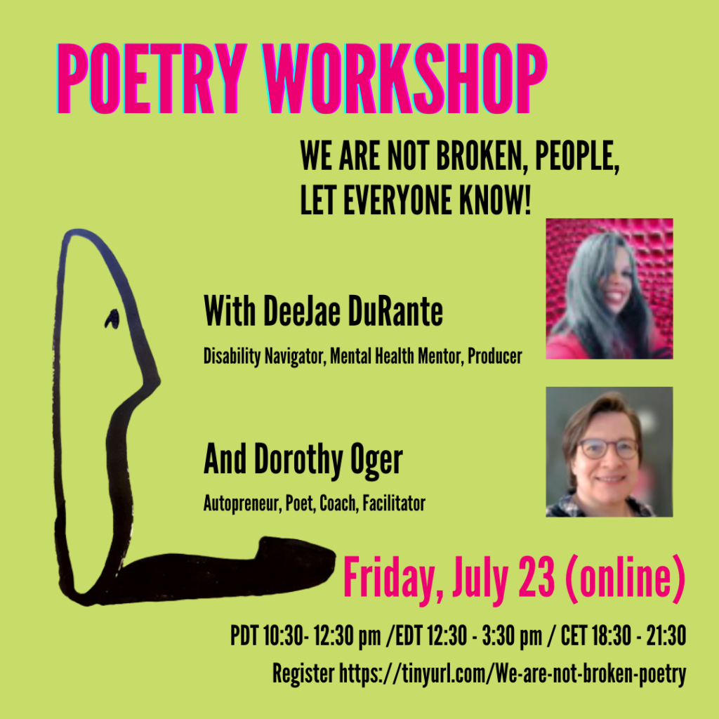 A poster of the workshop with pictures of DeeJae DuRante and Dorothy Oger