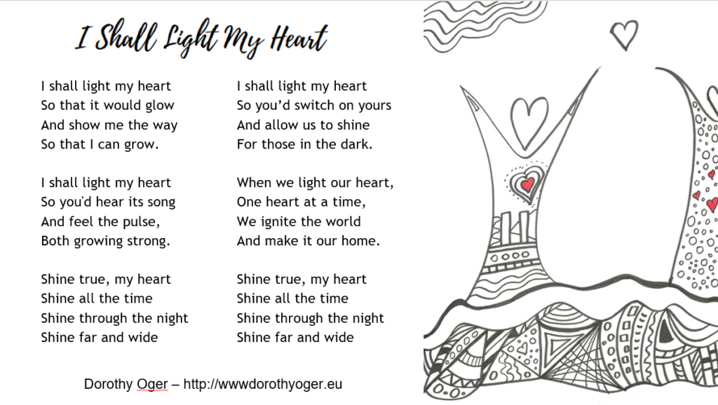 """The poem """"I shall Light My Heart"""" (reproduced in the text) with a drawing that shows a human like figure with a heart instead of head, arms raised to embrace the sky."""
